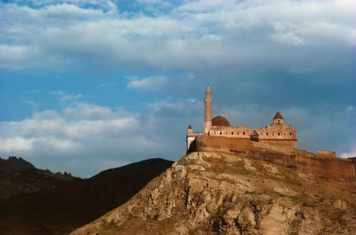 Low angle view of a palace on a hill, Ishak Pasha Palace, Dogubeyazit, Turkey : Stock Photo