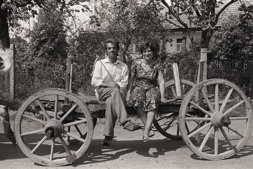 Stock Photo: 4009-659 Couple sitting on a wagon, Gyor, Hungary