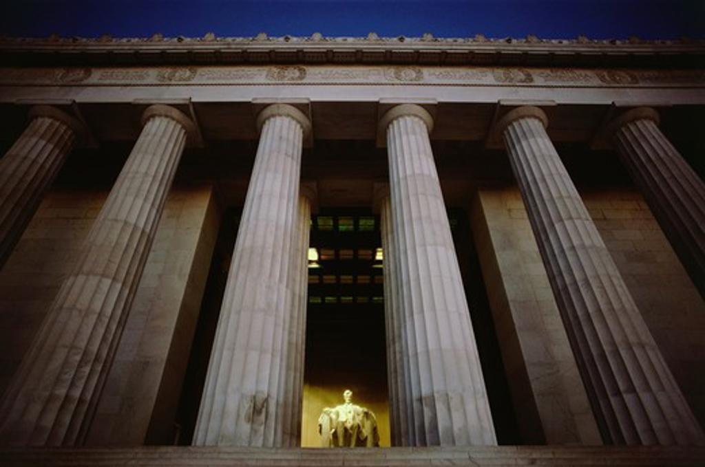 Stock Photo: 4009-713 Statue of Abraham Lincoln in a memorial, Lincoln Memorial, Washington DC, USA