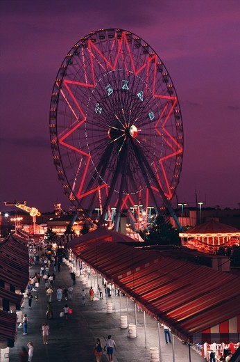 Ferris Wheel and the midway at the Texas State Fair at night, Dallas, Texas, USA : Stock Photo