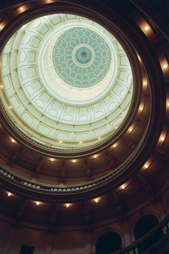 Ceiling of the dome of the Texas State Capitol building, Austin, Texas, USA : Stock Photo