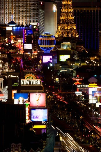 Stock Photo: 4009-861 High angle view of Las Vegas Strip from the top of the Mandalay Bay Resort and Casino, Las Vegas, Clark County, Nevada, USA