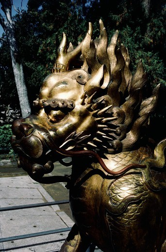 Stock Photo: 4009-976 Gilded lion in front of the Palace of Tranquil Longevity, Forbidden City, Beijing, China