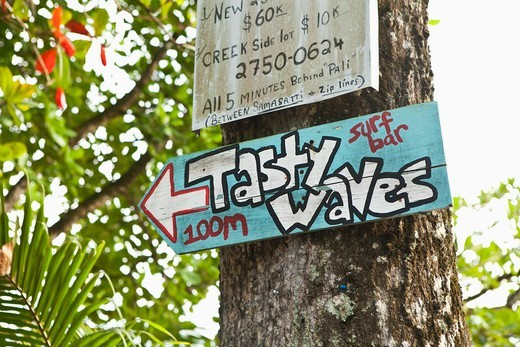 Stock Photo: 4011-1001 Tasty Waves street sign in Costa Rica