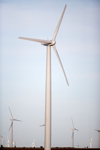 USA, Texas, Roscoe County, West Texas Wind Turbines : Stock Photo