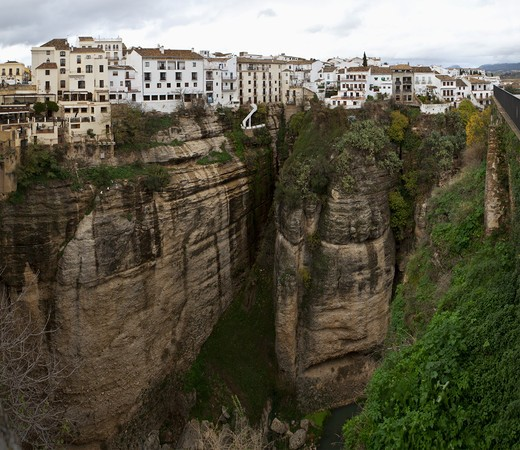 Stock Photo: 4011-790 Aerial view of a valley, Guadalevin River, Puente Nuevo, Ronda, Spain