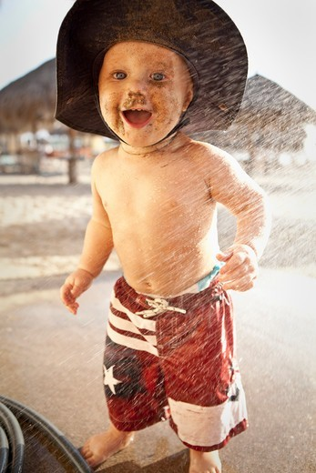 Baby boy enjoying on the beach, Puerto Vallarta, Jalisco State, Mexico : Stock Photo