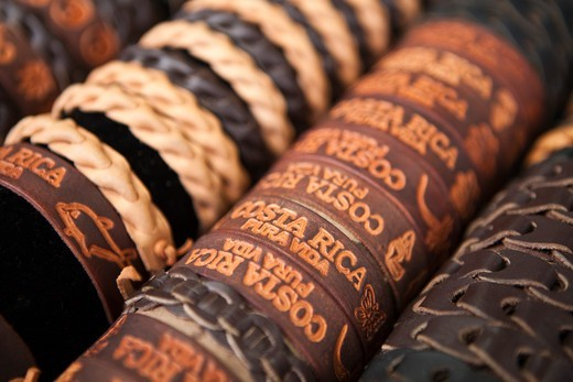 Stock Photo: 4011-982 Leather bracelets for tourists in Costa Rica