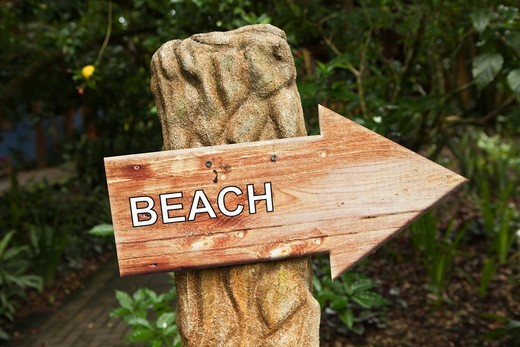 Wooden beach arrow sign, Costa Rica : Stock Photo