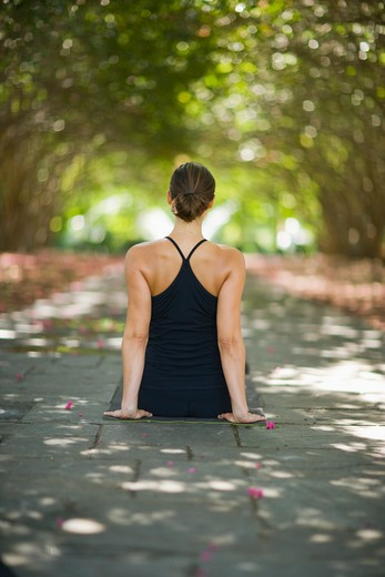 Stock Photo: 4011R-293E Young woman practicing yoga