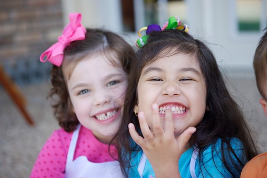 Stock Photo: 4011R-354A Two girls  smiling