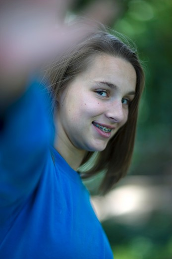 Stock Photo: 4011R-395C Portrait of a teenage girl smiling, Texas, USA