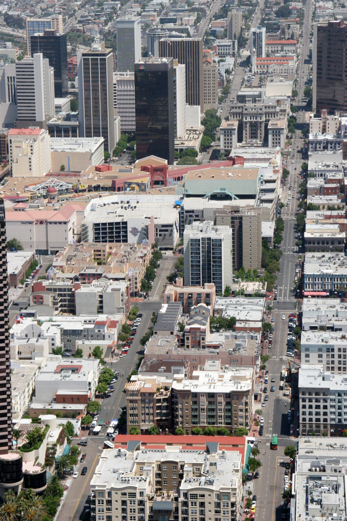Aerial looking down 3rd and 4th Ave in Gaslamp Quarter of San Diego : Stock Photo