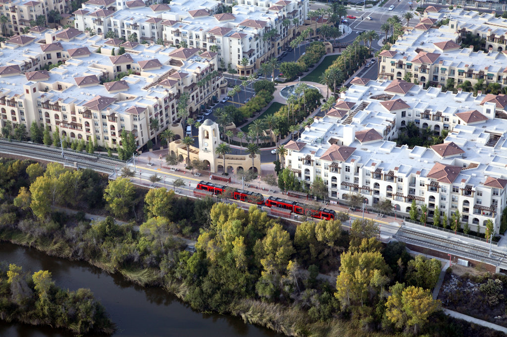 Stock Photo: 4017-1069 San Diego Trolley passing through Mission Valley