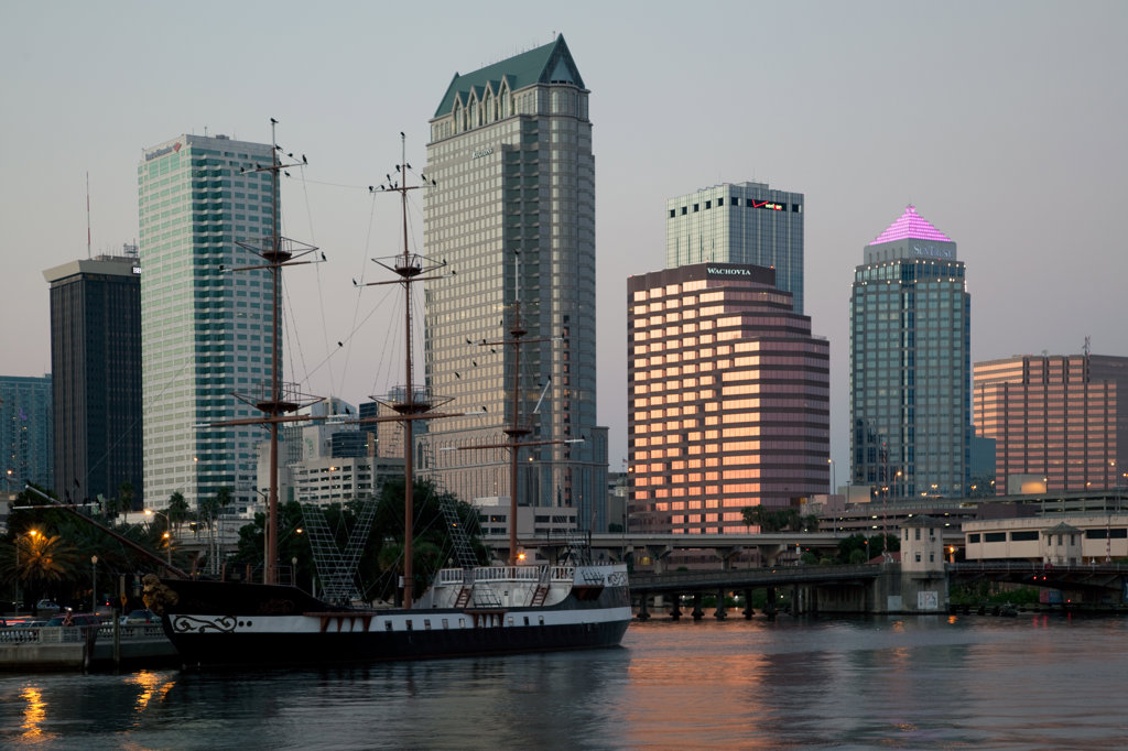 Stock Photo: 4017-1200 Tampa Skyline with old sailboat