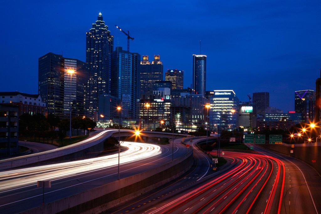 SunTrust Plaza with Atlanta Skyline : Stock Photo