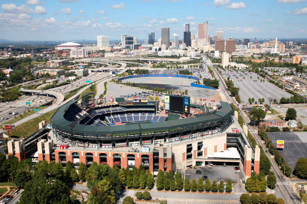 Stock Photo: 4017-1254 Turner Field with Atlanta Skyline in Background