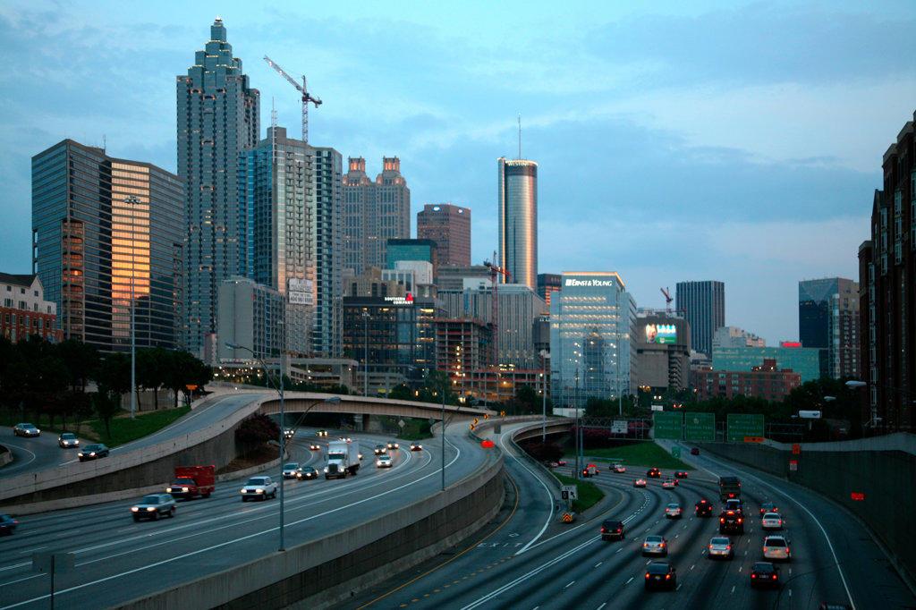 Stock Photo: 4017-1266 Downtown Atlanta Skyline over Freeway