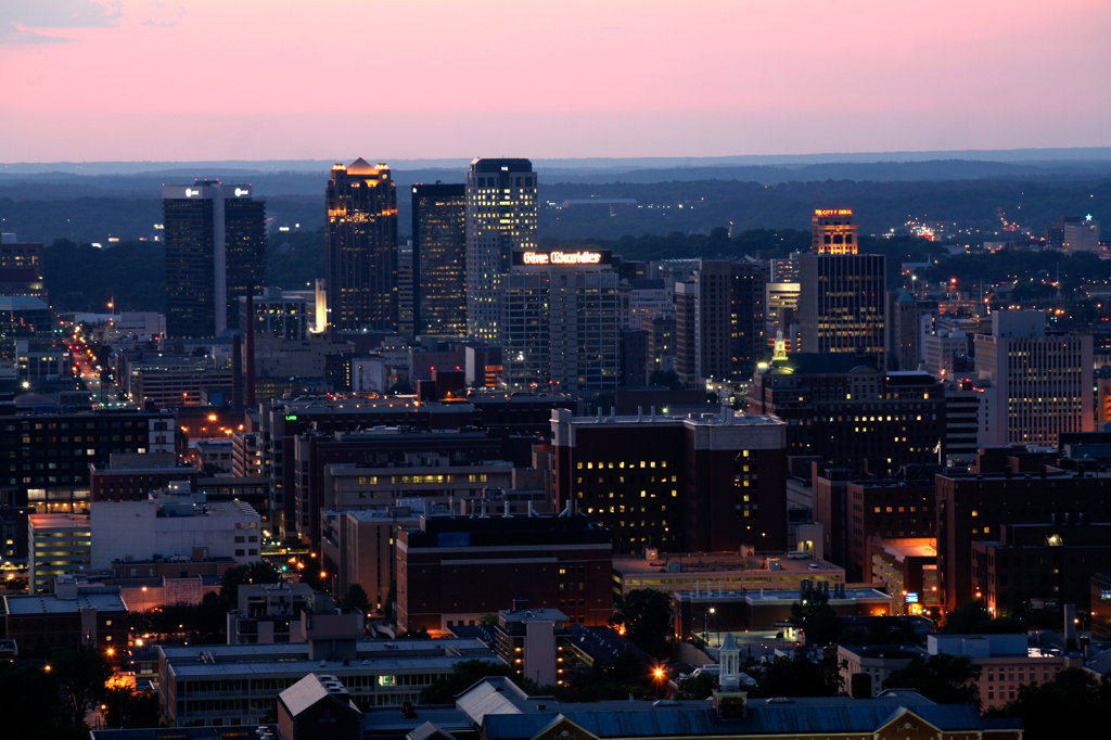 Birmingham Skyilne Aerial at Dusk : Stock Photo