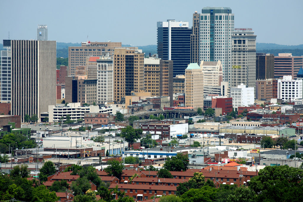 Wells Fargo Tower with the Bell South Builing and Birmingham Skyline : Stock Photo