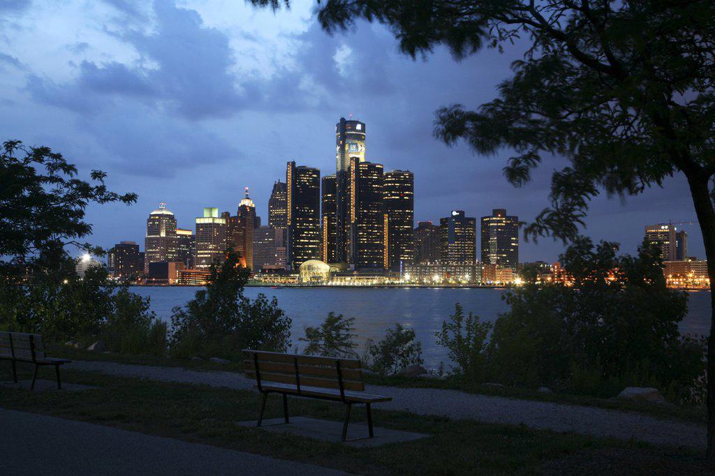 Stock Photo: 4017-148 USA,   Michigan,   Detroit,   Skyline at dusk