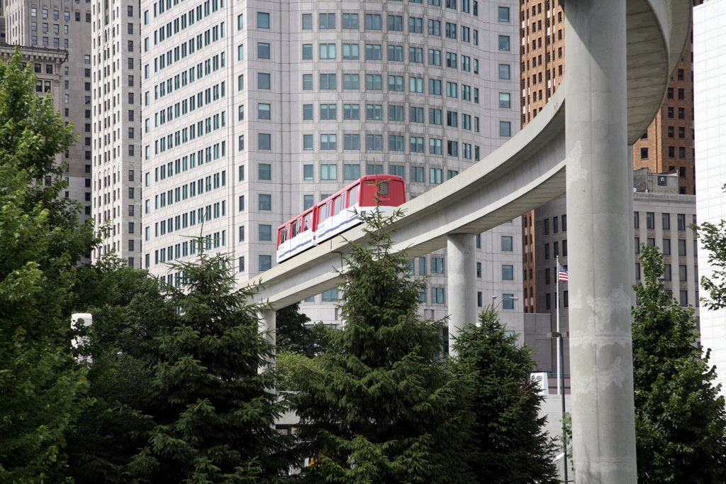 USA,   Michigan,   Detroit,   Train on monorail : Stock Photo