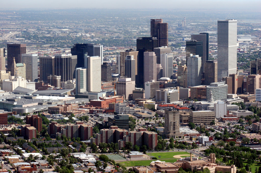 La Alma Lincoln Park in foreground with downtown Denver Skyline : Stock Photo