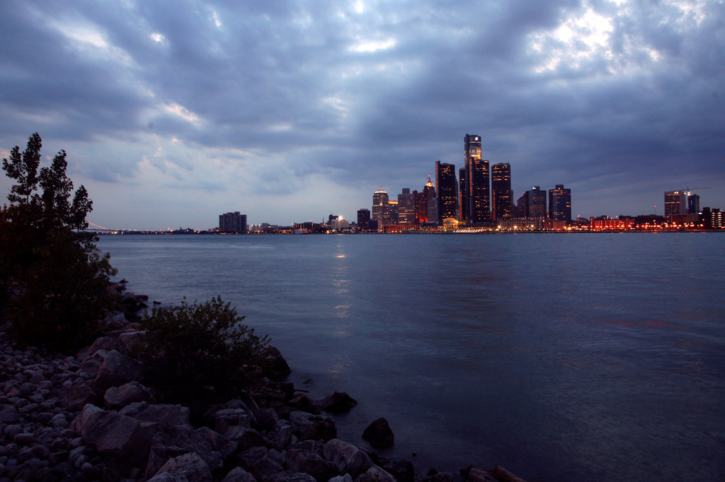 Downtown Detroit Skyline at Dusk from the Detroit River : Stock Photo