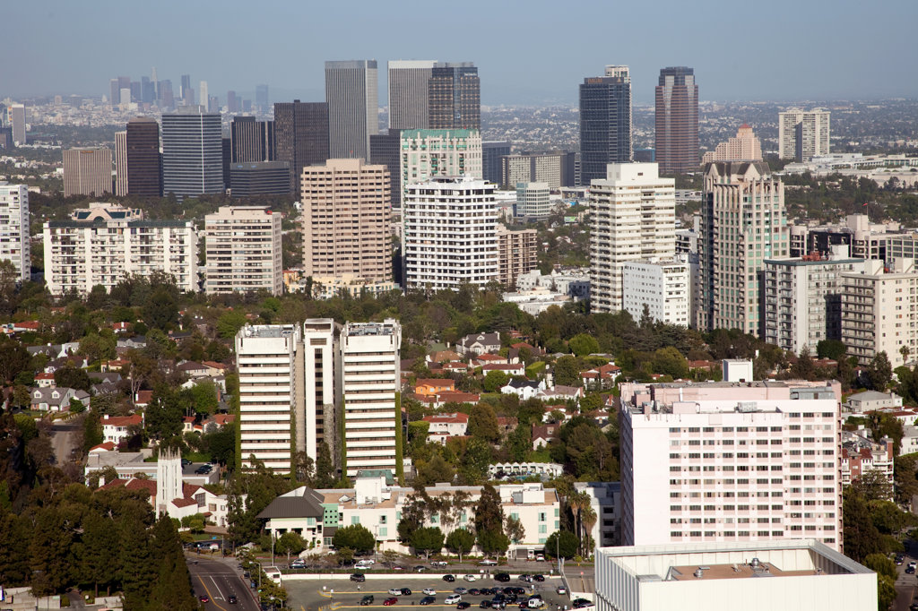 Stock Photo: 4017-1975 The willshire, century city and downtown skylines of Los Angeles blend together in this aerial from the west.