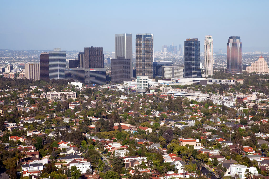 Stock Photo: 4017-2034 Aerial of the Century City Skyline from Westwood in Los Angeles
