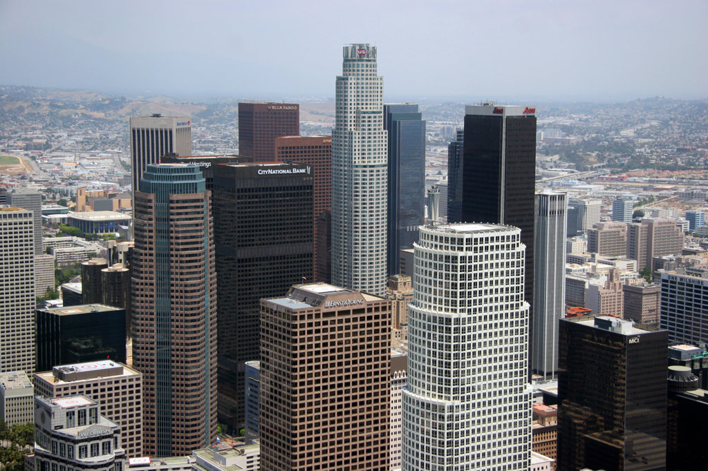 Stock Photo: 4017-2035 Close up view of the downtown LA skyline
