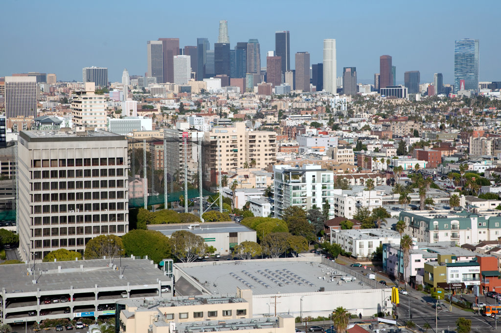 Aerial of the Los Angeles Skyline from Koreatown in Mid Wilshire : Stock Photo
