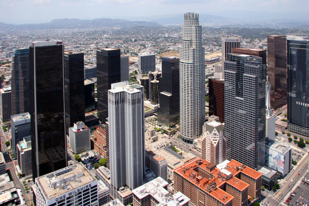 Stock Photo: 4017-2059 Aerial of the Downtown Los Angeles Skyline
