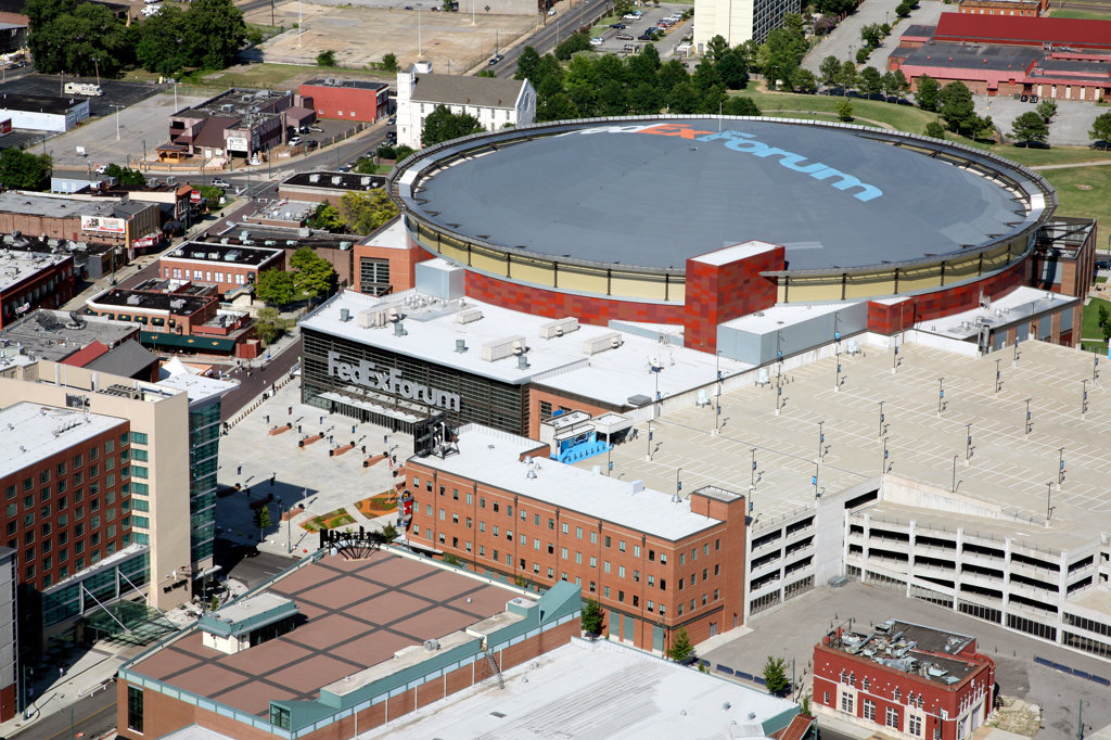 Stock Photo: 4017-2098 Aerial of FedEx Forum Arena in Memphis, TN