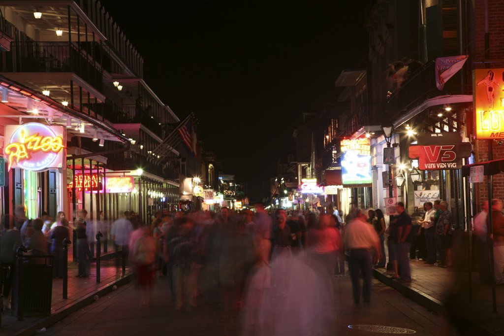 USA,   Louisiana,   New Orleans,   French Quarter,   Bourbon Street : Stock Photo