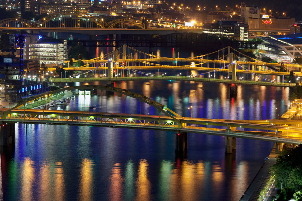 Stock Photo: 4017-2275 Fort Duquesne, Sixth, Seventh and Ninth Street Bridges over the Allegheny River at night in Pittsburgh