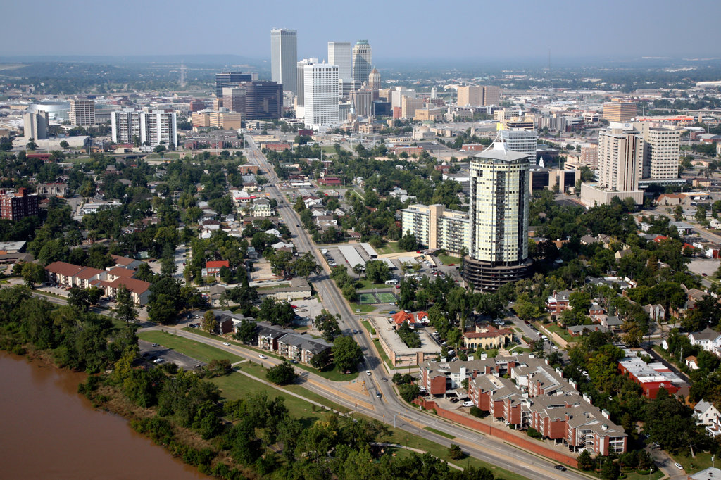 Stock Photo: 4017-2398 Aerial of Tulsa Oklahoma Downtown Skyline from the Arkansas River