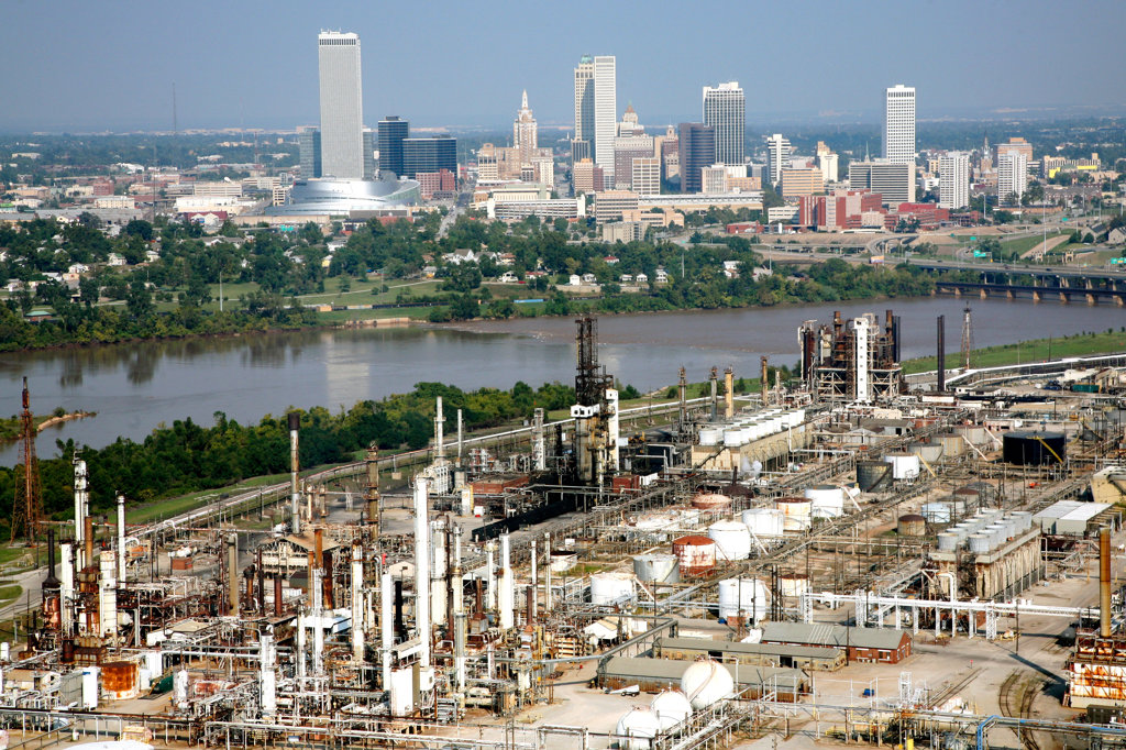 Stock Photo: 4017-2400 Aerial of Tulsa Oklahoma Downtown Skyline and Oil refineries