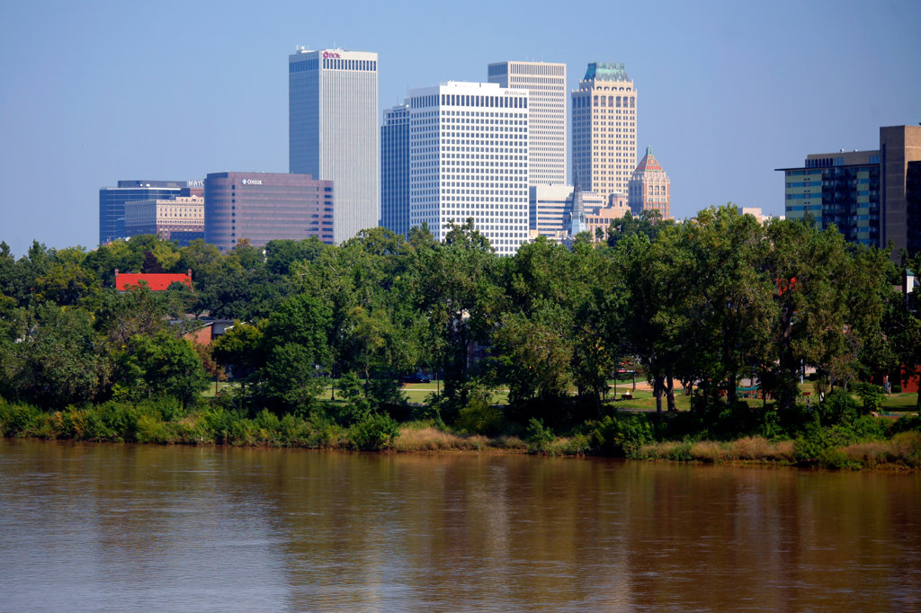 Stock Photo: 4017-2403 Downtown Skyline From Across the Arkansas River at Riverfront Park, West Tulsa Oklahoma