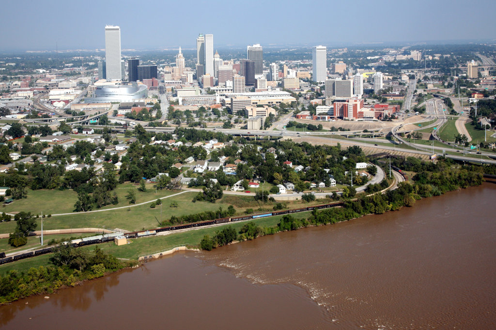 Tulsa Oklahoma Downtown Skyline with the Riverfront of Arkansas River : Stock Photo