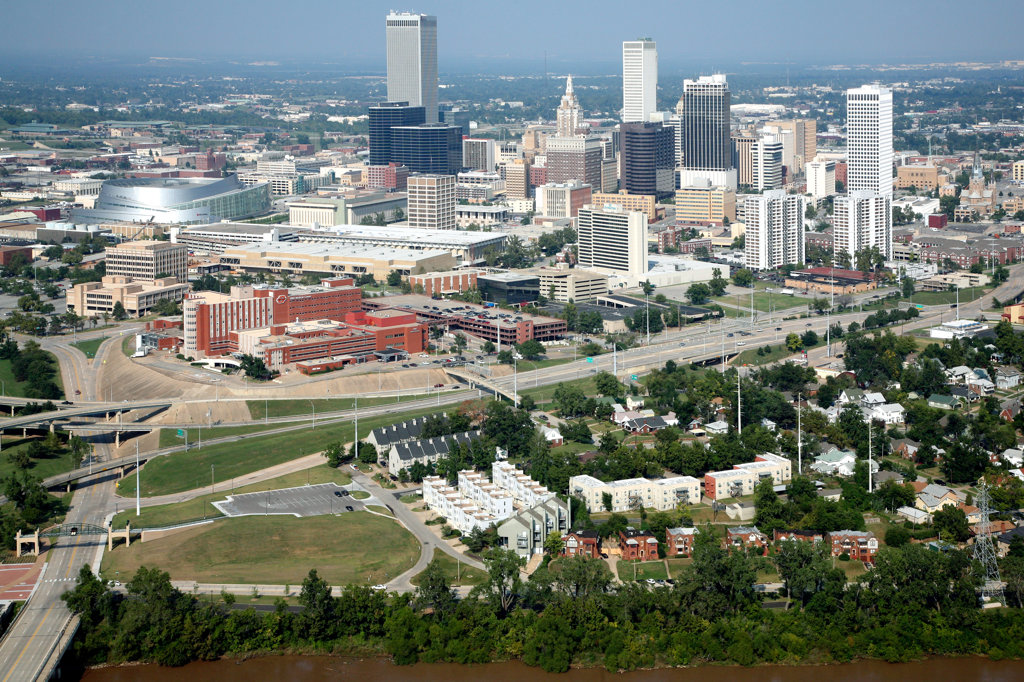 Aerial of Downtown Tulsa, Oklahoma Skyline from the Arkansas River : Stock Photo