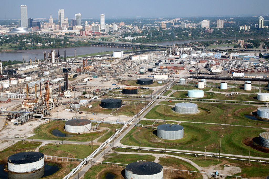 Stock Photo: 4017-2421 Aerial of Tulsa Oklahoma Downtown Skyline with Oil Refineries in the Foreground