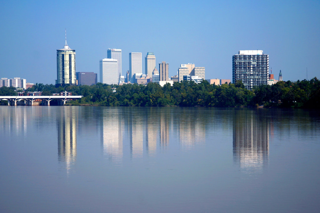 Stock Photo: 4017-2428 Tulsa Oklahoma Downtown Skyline along Arkansas River