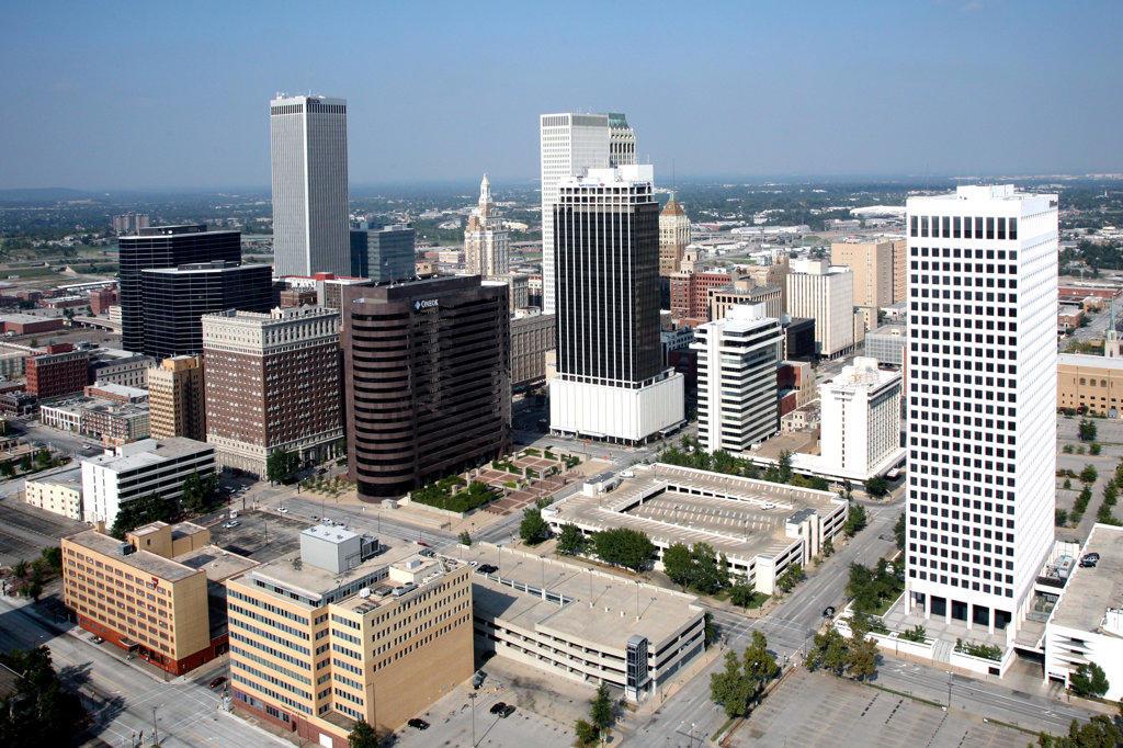 Stock Photo: 4017-2436 Aerial of Downtown Tulsa Oklahoma Skyline from near the Arkansas River