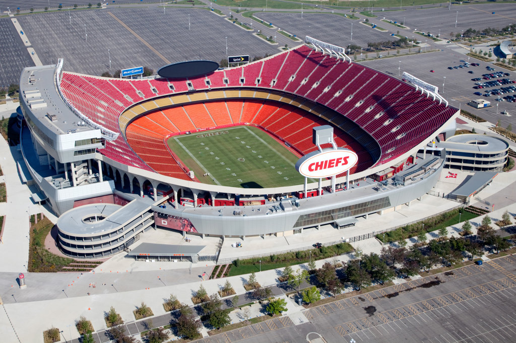 Aerial view of a football stadium, Arrowhead Stadium, Kansas City, Missouri, USA : Stock Photo