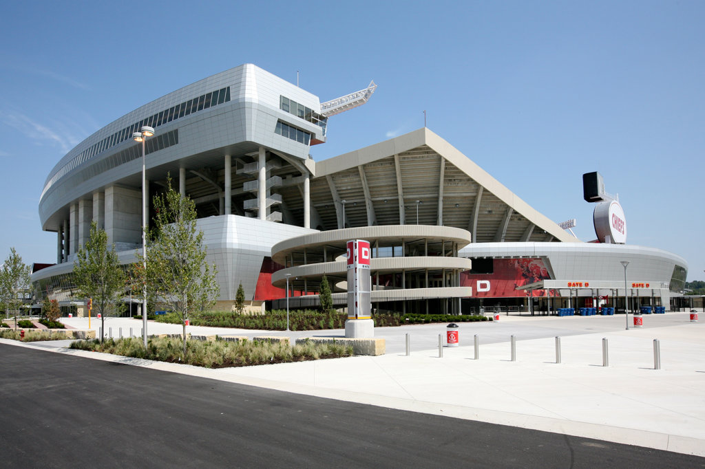 Stock Photo: 4017-2457 Arrowhead Stadium with new press box in Kansas City, Missouri, USA