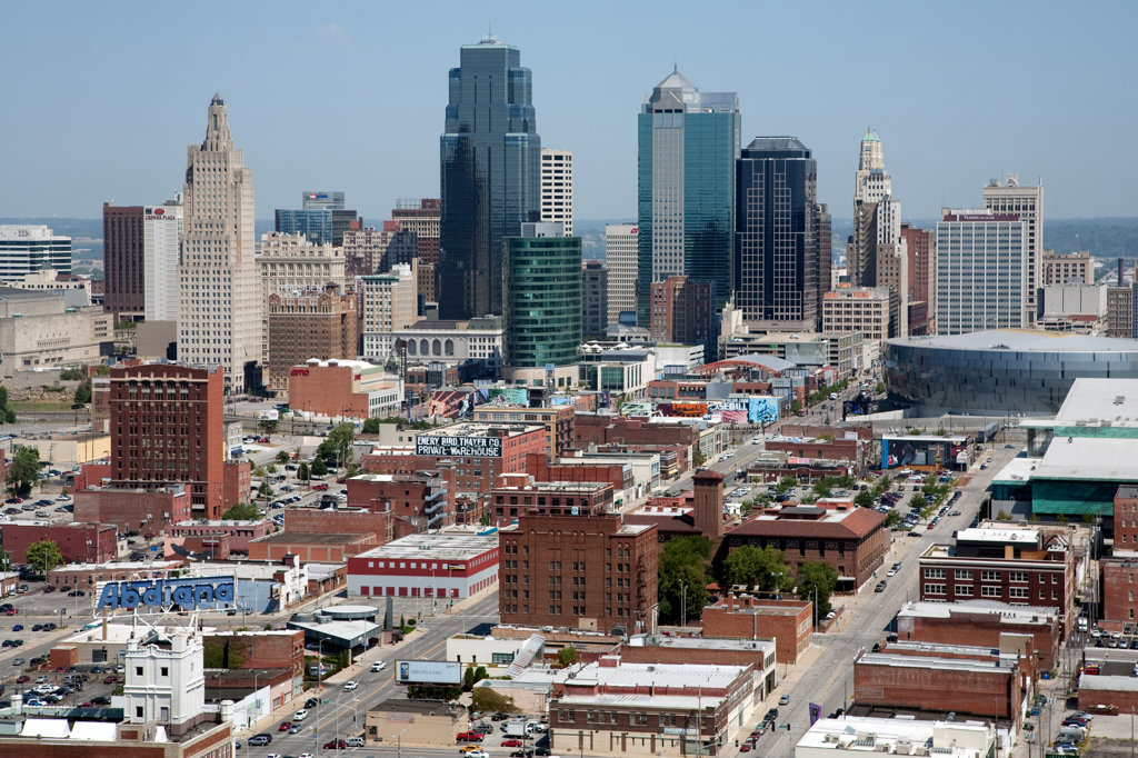 Crossroads and Power and Light District with Kansas City skyline, Missouri, USA : Stock Photo