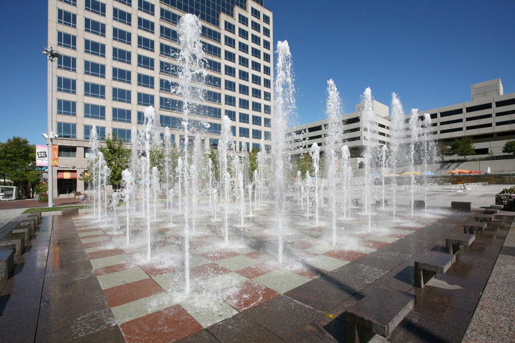Fountains in the Crown Center areas of Kansas City, Missouri, USA : Stock Photo
