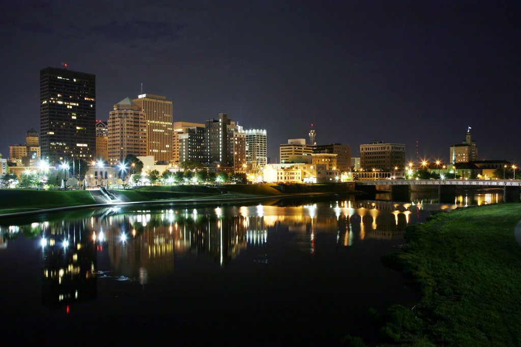 Stock Photo: 4017-2532 Downtown Dayton along the Great Miami River lit up at night, Ohio, USA
