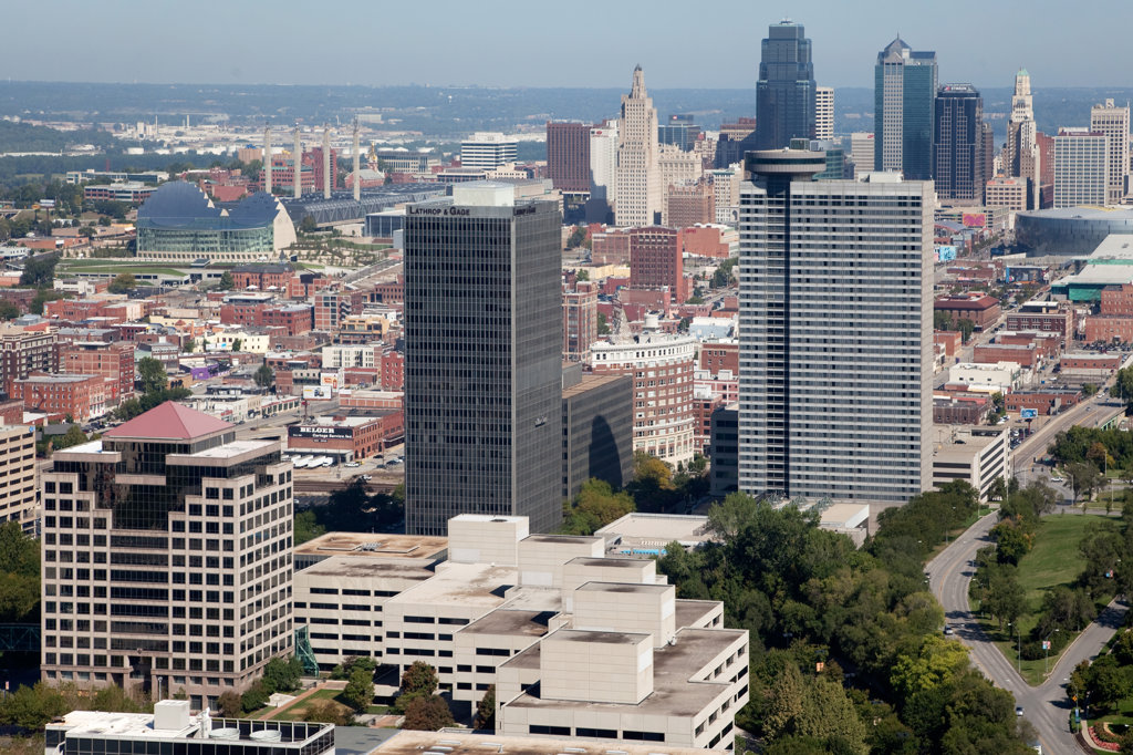 Aerial view of Crown Center and Crossroads Arts District, Kansas City, Missouri, USA : Stock Photo